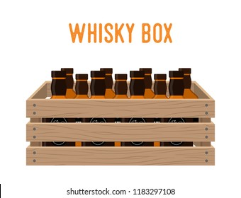 Cartoon box with whiskey bottles. Grocery basket with alcohol drink. Storehouse crate with strong beverage. Wooden container with products. Delivery, transportation package.