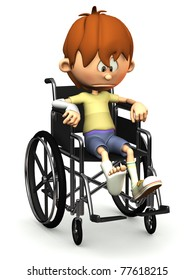 A cartoon boy with a broken leg and arm sitting in a wheelchair. He is looking very sad. White background.
