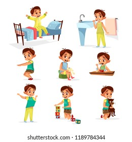 cartoon boy daily routine activity set. Male character wake up, stretch, brushing teeth doing gymnastics, toilet, dressing up eat breakfast play cat, cube toys. Illustration kid life schedule