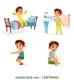 cartoon boy daily routine, morning activity set. Male character wake up, stretch, brushing teeth doing squat gymnastics, toilet hygiene. Illustration with kid life schedule, lifestyle