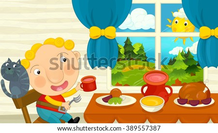 Cartoon Boy Eating Dining Room Illustration Stock Illustration
