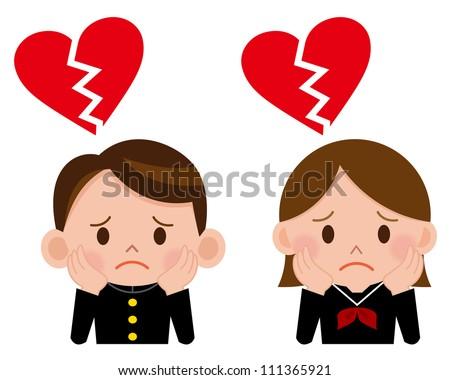 Royalty Free Stock Illustration Of Cartoon Boy Girl Broken Heart