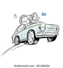 cartoon boy and girl driving classic car