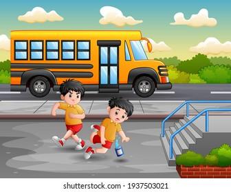 Cartoon boy kicking others kid leg and fall down