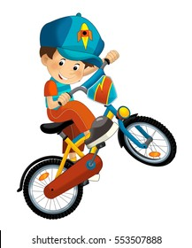 Cartoon boy on the bicycle - isolated - illustration for children