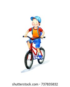 Cartoon boy on a bicycle. Watercolor illustration.