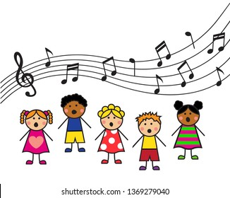 cartoon boys and girls sing a song and top notes and treble clef