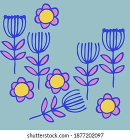 Cartoon branches, flowers. Hand drawn.