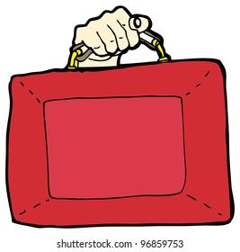 cartoon british budget briefcase