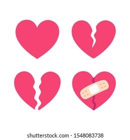Cartoon broken heart set, crack fixed with bandage. Breakup and heartbreak symbol. Simple flat style clip art illustration.