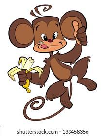 A cartoon brown happy monkey eating banana with thumb up