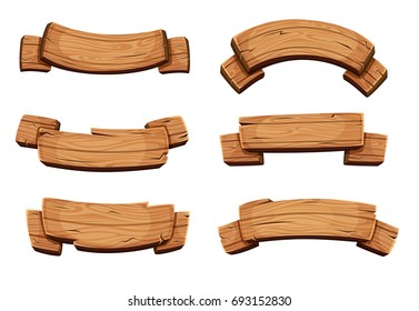 Cartoon brown wooden plate and ribbons. set isolate on white background. Wooden ribbons collection, illustration of wood board