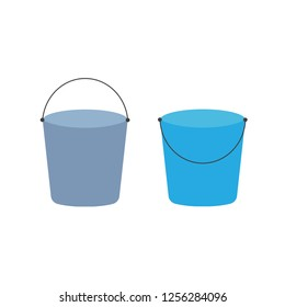 Cartoon buckets. Water pails, metal and plastic bucket. Isolated set. Collection of bucket container with water, pailful