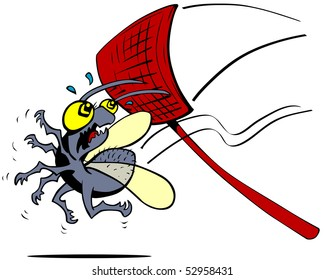 Cartoon bug about to be squashed by a fly swatter.