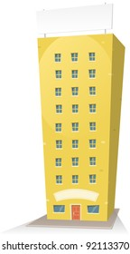 Cartoon Building With Sign/ Illustration of a cartoon residential building with background sign and banner