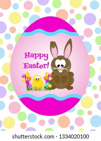 Cartoon bunny rabbit and chick celebrating easter  surrounded by tulips on a decorated egg with polka dot background.