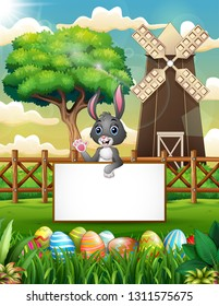 Cartoon bunny waving hand with blank sign in the farm