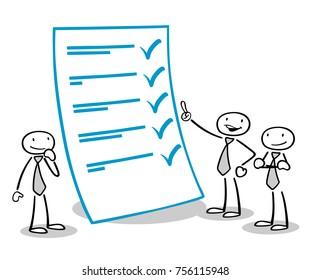 Cartoon business people control checklist form