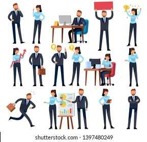 Cartoon business persons. Businessman professional woman in different office work situations. flat characters set