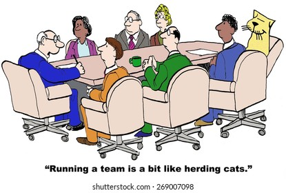 Cartoon of business project manager saying that running a team is a bit like herding cats, and there is a cat in the meeting room.