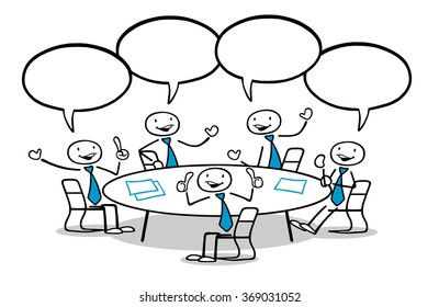 Cartoon business team group sitting and talking at round table