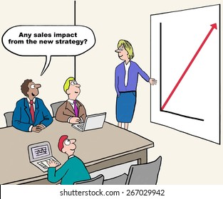 Cartoon of businessman asking if the new strategy has had any impact on sales.  In fact, it has and sales are growing rapidly.