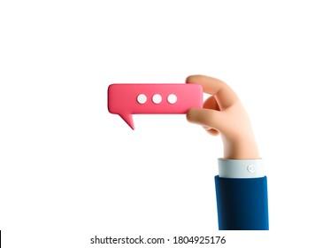 Cartoon businessman character hand holding a bubble talk sign. 3d illustration.