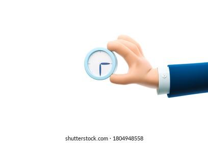 Cartoon Business-Mann-Charakter Hand, die eine Armbanduhr hält. 3D-Abbildung.