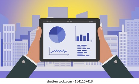 cartoon, businessman holding a tablet pc with financial charts, online stock trading