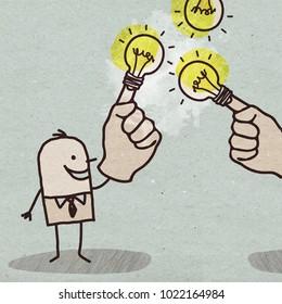 Cartoon Businessman with Light Bulb on Finger