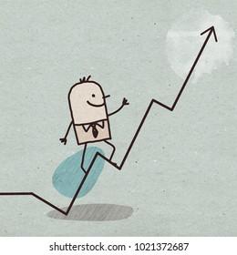 Cartoon Businessman with Up Line