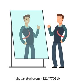 Cartoon businessman loves to look at his reflection in mirror. Egoistic person consept