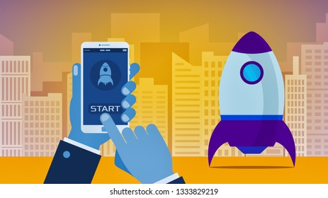 cartoon businessman with a smartphone, rocket take-off, skyscrapers on background, concept of startup and new business, vibrant colors