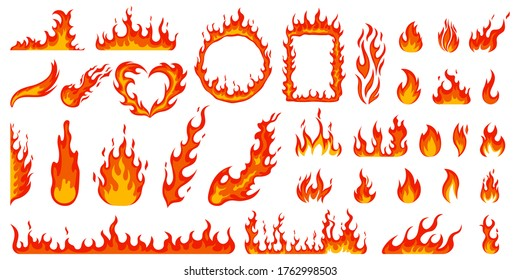Cartoon campfire. Fire flames, bright fireball, heat wildfire and red hot bonfire, campfire, red fiery flames isolated  illustration set. Animated form and square, fireball and flame