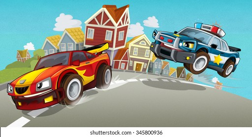 Cartoon car chase - illustration for the children