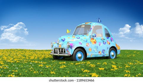 Cartoon car on a lawn. 3D illustration