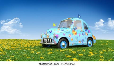 Cartoon car on a lawn. 3D illustration