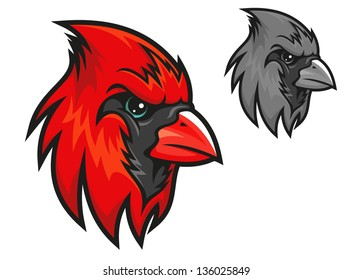 Cartoon cardinal birds head in profile with a short sharp beak and beady eye in two different colour variations isolated on white. Vector version also available in gallery
