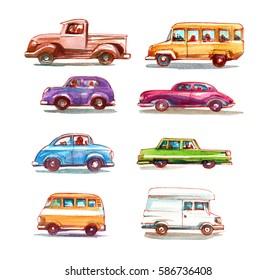 Cartoon cars set. Watercolor illustration