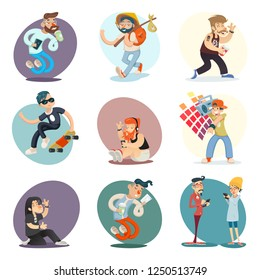 Cartoon Casual People Hipster Geek Goth Phone Coffie Characters Icon Set Design Retro  Illustration