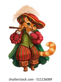 Cartoon cat in a hat, boots and coat, playing the flute.