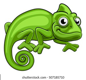 A cartoon chameleon green lizard character
