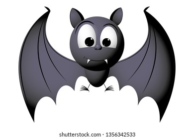 Cartoon character - bat isolated on white background
