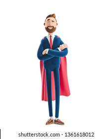 Cartoon character Billy clothed like a superhero. 3d illustration