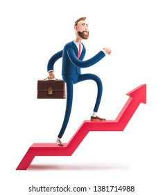 Cartoon character Billy goes to success. 3d illustration. Concept of financial growth. Dashboard with the analysis of finance