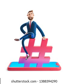Cartoon character Billy Billy sitting on a hashtag icon. The concept of social media. 3d illustration