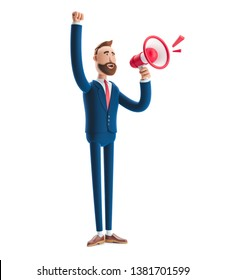 Cartoon character Billyshouting through loud speaker. 3d illustration