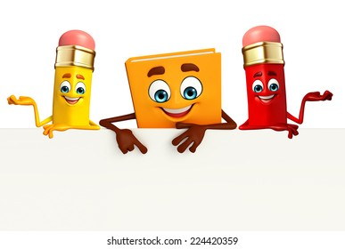 Cartoon Character of Book with sign and pencil