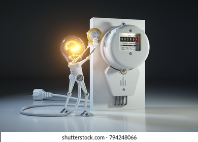 Cartoon character bulb light robot pays tariffs utility in kilowatt hour meter. 3d concept