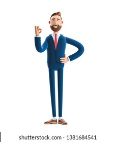 Cartoon character businessman Billy shows okay or OK gesture. 3d illustration